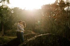 Engagement photos in the woods.