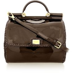 DOLCE & GABBANA SICILY Brown Patent Leather Tote (€648) ❤ liked on Polyvore featuring bags, handbags, tote bags, purses, borse, bolsas, evening hand bags, brown tote, purse pouch and brown purse