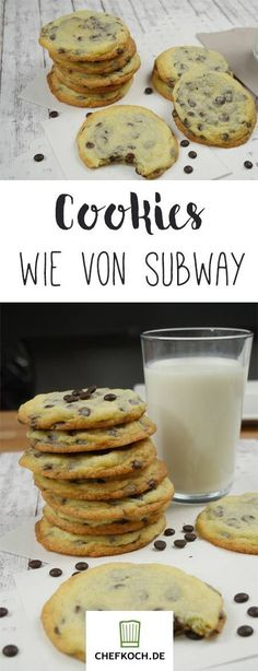 Subway cookies - with video tutorial by americankoche . - - Subway-Cookies – mit Videoanleitung von amerikanischkoche… Subway cookies – with video tutorial from American cook … Comida Diy, Soft Chocolate Chip Cookies, Yummy Cookies, Pudding Cookies, Cookies Et Biscuits, Diy Food, Food Inspiration, Sweet Recipes, Snacks