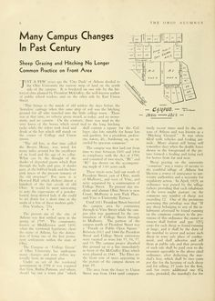 """The Ohio Alumnus, February 1932. """"Many Campus Changes In Past Century: Sheep Grazing and Hitching No Longer Common Practice on Front Area."""" :: Ohio University Archives"""