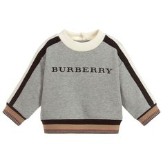 d075f3d08060 Burberry Grey Cotton Logo Sweatshirt. Shop from an exclusive selection of  designer Tops Burberry Baby. Childrensalon