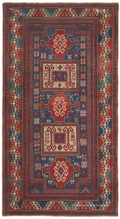 Caucasian Karachov Kazak, 4ft 11in x 8ft 6in, Circa 1875. Lush full pile and luxuriously silky wool invigorate this resplendent antique Caucasian Karachov Kazak, pulsating with vitality despite its over 135 years of age. The innovative double-niche checkerboard formation along the edges of the field adds compelling texture to the exquisitely well-balanced composition.