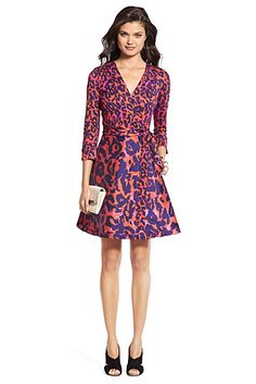 Heritage DVF Amelia Silk Combo Flared Wrap Dress In Vintage Leopard Red
