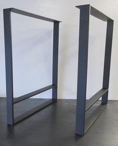 """Metal Table Legs - (1/2""""x2"""" steel) - Set of 2 - Flat Black- Small Home Office Desk, Small Home Offices, Steel Table Legs, Purple Chair, Handmade Table, Dinning Table, Furniture Legs, Wood Design, Interior Design"""