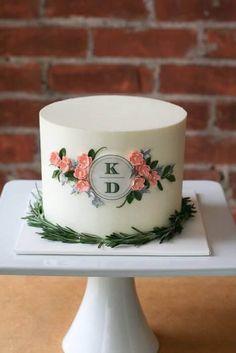 Simple rustic vintage monogram buttercream cake by erica obrien cake design Bolo Fondant, Bolo Cake, Fondant Cakes, Cupcake Cakes, Gorgeous Cakes, Pretty Cakes, Cute Cakes, Amazing Cakes, Elegant Wedding Cakes