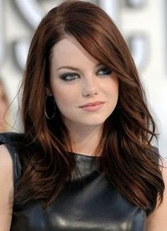 Emma Stone gorgeous chestnut brown fall hair... I love this, but I don't think I can go back to being so dark...