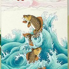 입신양명 민화에 대한 이미지 검색결과 Japanese Illustration, Illustration Art, Drawn Fish, Pond Painting, Korean Art, Japanese Painting, Japanese Prints, Japan Art, Fish Art