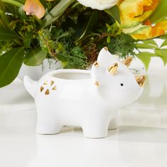 Dinosaur Ceramic Planter-As nursery decor, party favors, kids room decorations, or as an adorable little touch to any room of your home, we have Kate Ceramic Animals, Clay Animals, Pottery Animals, Ceramic Clay, Ceramic Planters, Clay Projects, Clay Crafts, Dinosaur Plant, Kate Aspen