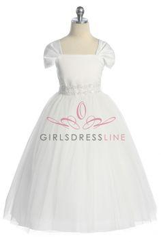 Dainty Short Sleeve Tulle Bottom Flower Girl Dress KD-222W on www.GirlsDressLine.Com