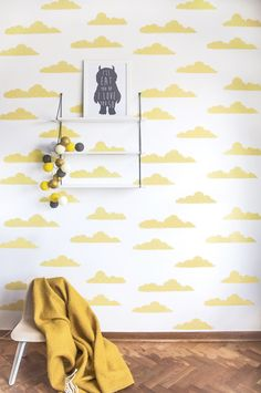 wallpaper Clouds: Discover here the SWEET! wallpaper collection of Roomblush Yellow Kids Rooms, Wallpaper Collection, Kids Room Wallpaper, Bedroom Wallpaper, Wallpaper Ideas, Toddler Rooms, Baby Room Decor, Fashion Room, Kids Decor