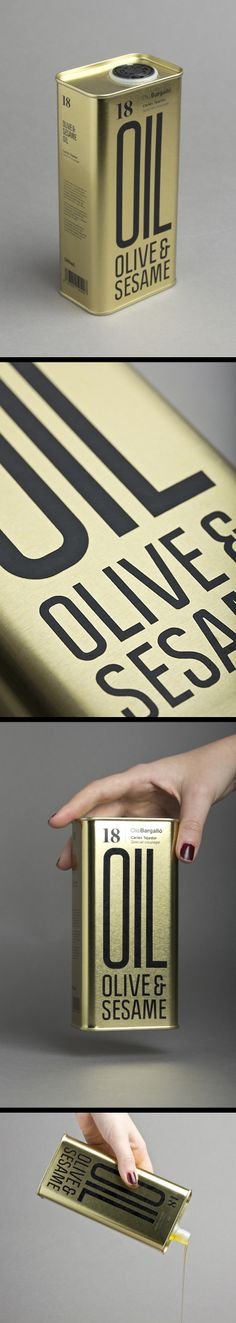 Olive and Sesame Oil can packaging #packaging