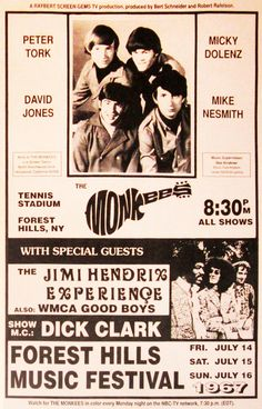 Super vintage music posters the beatles Ideas Rock Posters, Band Posters, Event Posters, Groups Poster, Vintage Concert Posters, Retro Posters, Concert Flyer, Old Advertisements, The Monkees