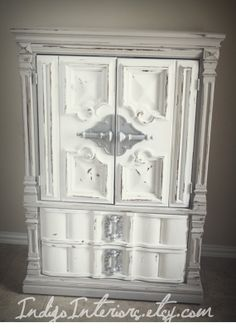 Vintage Grey and White Tall Dresser / Chest / Armoire by www.IndigoInteriors.etsy.com Indigo Interiors on Etsy