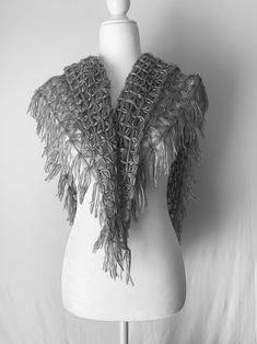 Beautiful platinum shawl, made soft and light weight, with each flower pattern sewed on by hand. Its glowing silver color gives out an elegant and sophisticated look that makes it perfect to wear on any special occasion.Platinum ⋆Hand Made Shawl by a Triangle Loom ⋆ SimplyNoemi ⋆