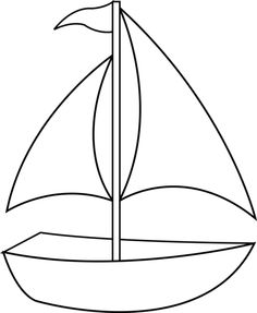 Colorable Sailboat Line Art - Free Clip Art Art Drawings For Kids, Drawing For Kids, Easy Drawings, Art For Kids, Coloring Book Pages, Coloring Sheets, Applique Patterns, Quilt Patterns, Summer Crafts