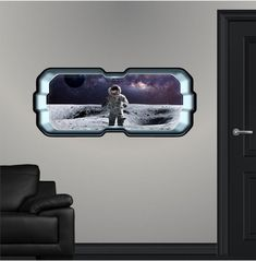 SpaceScape Astronaut On Moon #1 Wall Decal Nebula Sticker Graphic Ship Space Ship Window View Art Mural Kids Game Room Man Cave Basement