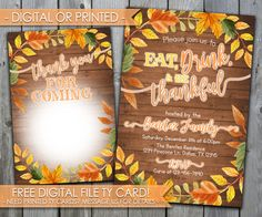 Thanksgiving Dinner Invitation, Thanksgiving Invitation, Eat Drink & Be Thankful Invitation, Thanksgiving Feast Invitation, Fall Leaves #475 by PerfectPrintableCo on Etsy