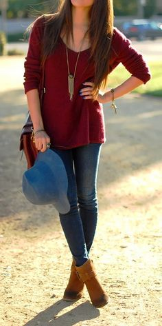 Lovely look with maroon sweater and denim