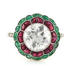 Art-Deco-style-platinum-2-80-cts-Old-Euro-Diamond-Ruby-and-Emerald-ring-size-7