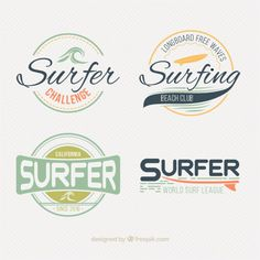 Stylish surf labels pack Free Vector