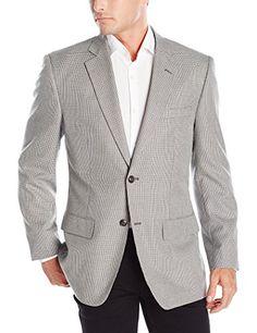 Jones New York Men's Black and White Houndstooth Sportcoat