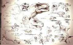 Image - The Lost World Jurassic Park sketchbook page T-rex and Raptor.jpg - Park Pedia - Jurassic Park, Dinosaurs, Stephen Spielberg - Wikia