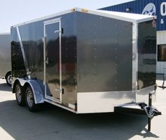 2012 Cargo Mate 7' x 14' Charcoal Black Steel Enclosed Cargo Tandem Trailer