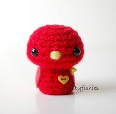 SALE Baby Red Bird Kawaii Mini Amigurumi Plush by twistyfishies, $10.00