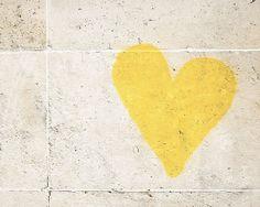 Paris Photography Graffiti Heart Yellow Wall by TheParisPrintShop, $28.00