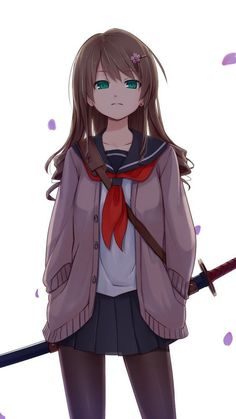Anime Girls Black And White Fkey Grayscale Katana Long Hair Looking Back Original Characters Red Eyes School Uniforms Selective Coloring She - WallDevil Kawaii Anime Girl, Anime Art Girl, Anime Girls, C Anime, Chica Anime Manga, Manga Girl, Manga Katana, Espada Anime, Cute Girls