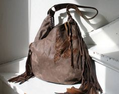 2 nd payment RESERVED bag XXL Milky brown leather distressed bird fringe hobo  free boho people swallow  sweet smoke fringed gypsy festival
