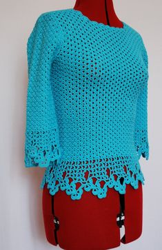 Lace turquoise crochet top blouse, summer blouse, woman clothing, gift for her Crochet Gifts, Crochet Top, Etsy Handmade, Handmade Gifts, Pinterest Gift Ideas, Artisans, Summer Blouses, Woman Clothing, Baby Outfits