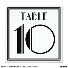 Art Deco Table Number 10 5.25x5.25 Square Paper Invitation Card