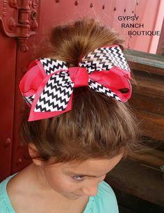 Girls Large Pink & Chevron Bow Kid's