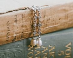 Wedding Earrings - Freshwater Pearl Drop Wedding Earrings, Stephanie