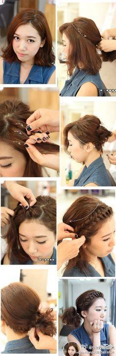 short hair braid  Julia's promotion day hair?