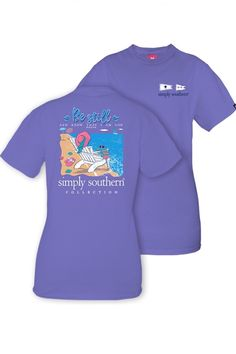 "Simply Southern tee in periwinkle with a beach chair on the back and the quote ""Be still and know that I am God."""