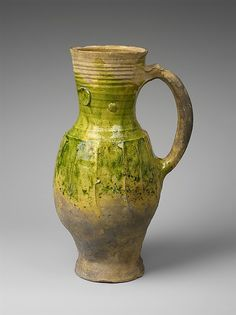 Green Glazed Pitcher, Date: 13th century Culture: French Medium: Earthenware, partially covered with a green lead glaze