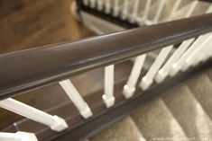 How to Paint / Stain Wood Stair Railings (Oak Banisters & Spindles) WITHOUT SANDING! Painted Stair Railings, Oak Banister, Wood Railings For Stairs, Diy Stair Railing, Interior Railings, Banisters, Paint Stained Wood, Stain Wood, Scrap Wood Art