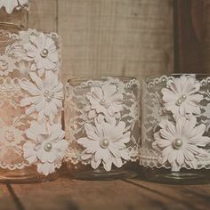 10 lace wedding jars. Wedding centerpiece. Vintage wedding, barn wedding, wedding vases, Mason jars. Blush Pink.