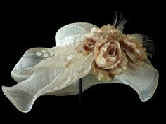 """Kentucky Derby Hat, Summer Hat, Race Day Hat, Adjustable Size, Sinamay Hat for Church, High Tea, a Garden Party and Weddings - """"A ROYAL TEA"""". $125.00, via Etsy."""
