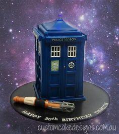 A Fantastic TARDIS and Sonic Screwdriver Cake