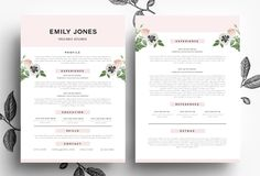 Creative CV+Cover Letter/PSD+Word by Emily's ART Boutique  on Creative Market