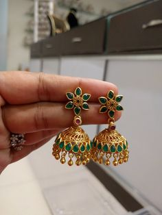 Simple Traditional & Temple Jhumkas/Earrings(Screw Style) in Silver and Gold Polish with Emeralds and Rubys - Indian Jewelry for Special Occasions, Pooja Ceremonies, Festival Celebrations - Perfect Gift Weight : gms Estimated shipping delivery times: Jewelry Design Earrings, Gold Earrings Designs, Gold Jewellery Design, Necklace Designs, Fashion Jewellery, Beaded Jewelry, Real Gold Jewelry, Gold Jewelry Simple, Silver Jewellery Indian