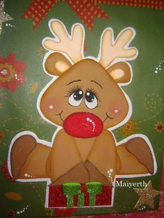 Picaporte Reno                          Perilleras                                 Portaperillas                          Renito ... Diy And Crafts, Christmas Crafts, Christmas Decorations, Christmas Ornaments, Christmas Rock, Christmas Holidays, Light Bulb Crafts, Reindeer Craft, Owl Pictures