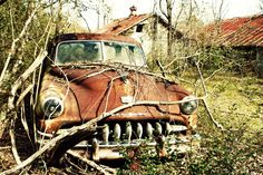 Items similar to Antique car vintage automobile rust orange brown rural abandoned country alabama leaves woods trees broken old farm