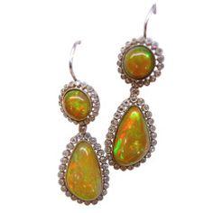 Opal Diamond Platinum Pendant Earrings