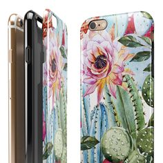 Vintage Watercolor Cactus Bloom iPhone 7 or 7 Plus by LolliLuxe