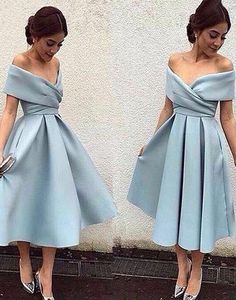 light blue homecoming dress, short homecoming dress, off shoulder prom dress, cheap homecoming dress, satin homecoming dress, BD32871 #fashion#promdress#eveningdress#promgowns#cocktaildress