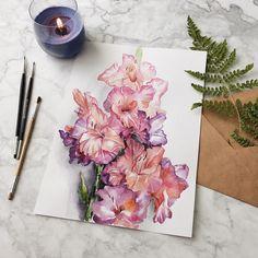 """214 отметок «Нравится», 27 комментариев — Svistun (@svistunartspace) в Instagram: «""""Ароматами... ну вы поняли?"""" В августе купила замечательные гладиолусы, дымчато-розового оттенка,…»"""